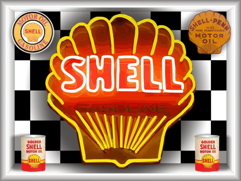 SHELL GASOLINE MOTOR OIL Neon Effect Sign Printed Banner 4' x 3'