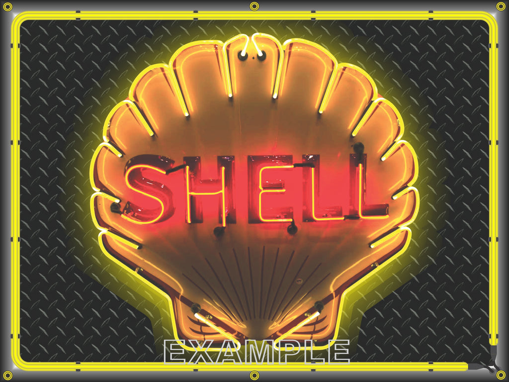 SHELL GAS STATION CLAMSHELL SIMULATED NEON DESIGN SIGN REMAKE BANNER ART MURAL 3' X 4'