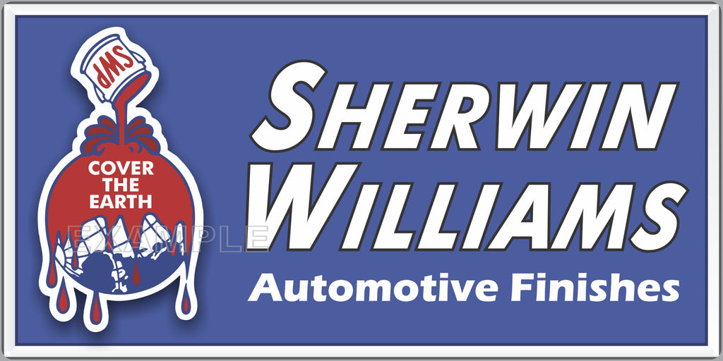SHERWIN WILLIAMS AUTOMOTIVE PAINTS SERVICE CENTER STATION AUTOMOBILE REPAIR DEALER OLD SIGN REMAKE ALUMINUM CLAD SIGN VARIOUS SIZES