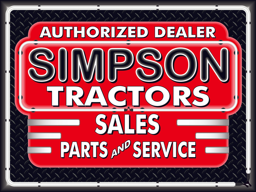 SIMPSON TRACTORS DEALER STYLE SIGN SALES SERVICE PARTS TRACTOR REPAIR SHOP REMAKE BANNER 3' X 4'