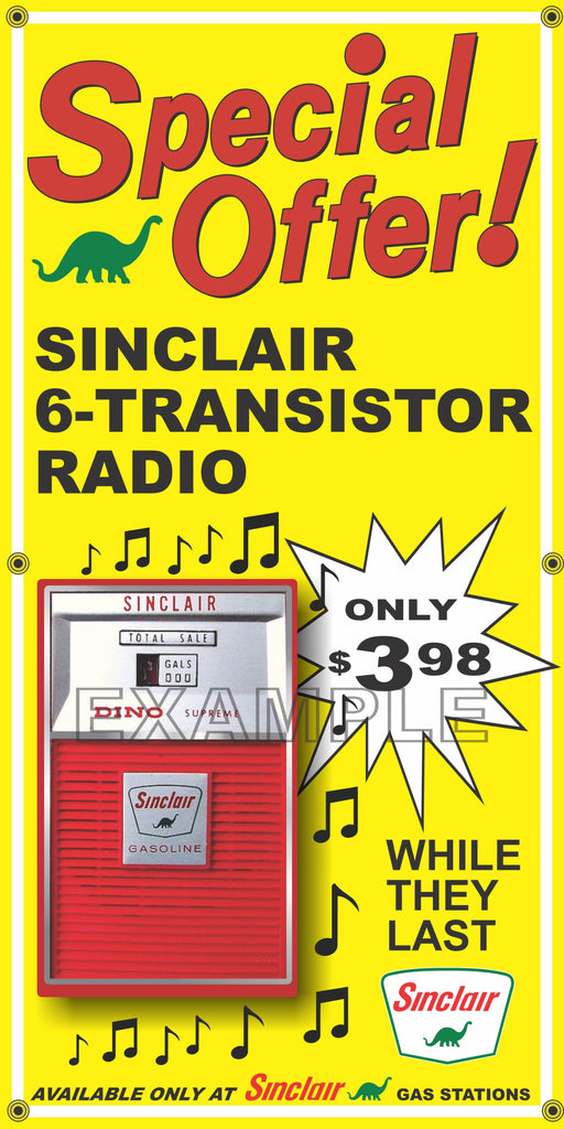 SINCLAIR DINO GAS STATION TRANSISTOR RADIO PROMO OLD SIGN REMAKE BANNER ART VARIOUS SIZES