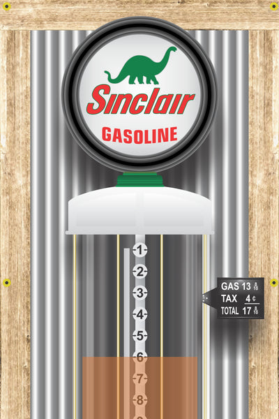 SINCLAIR DINO GAS STATION OLD VISIBLE GAS PUMP RUSTIC PRINTED BANNER MURAL ART 2' x 8'
