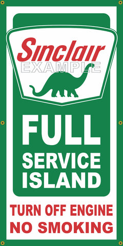 SINCLAIR DINO FULL SERVICE ISLAND VINTAGE OLD SCHOOL SIGN REMAKE BANNER SIGN ART MURAL 2' X 4'/3' X 6'