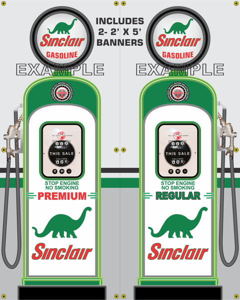 SINCLAIR DINO GAS PUMP INDIVIDUAL OR SET PRINTED BANNER SHOP ART MURAL 2' X 5'