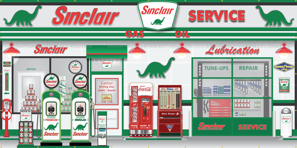 SINCLAIR DINO OLD GAS PUMP GAS STATION SCENE WALL MURAL SIGN BANNER GARAGE ART VARIOUS SIZES