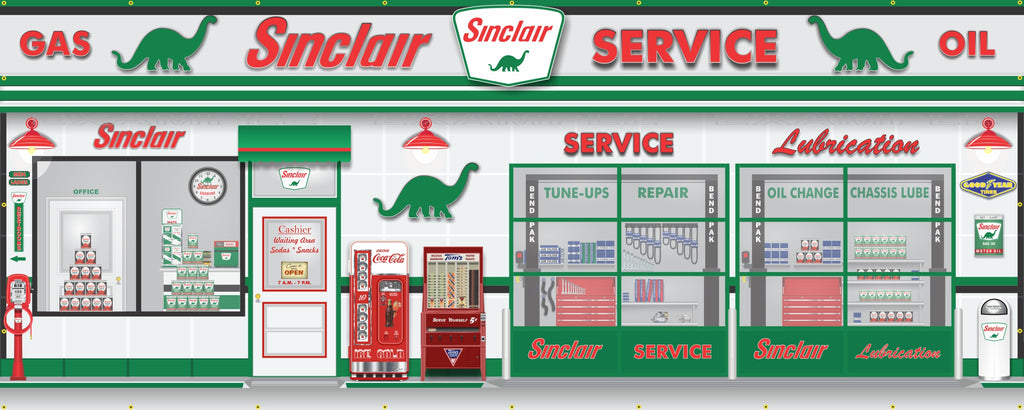 SINCLAIR DINO OLD GAS STATION SCENE WALL MURAL SIGN BANNER GARAGE ART CUSTOM 8' X 20'