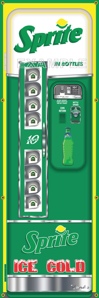 SPRITE SODA POP OLD VINTAGE VENDO VENDING MACHINE STYLE BANNER 2' X 6' SIGN ART MURAL