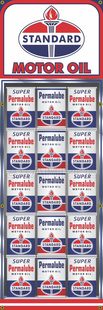 "STANDARD OIL GAS STATION OIL CAN RACK DISPLAY PRINTED BANNER SIGN MURAL ART 20"" x 60"""