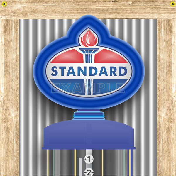STANDARD OIL GAS STATION OLD VISIBLE GAS PUMP RUSTIC PRINTED BANNER MURAL ART 2' x 8'
