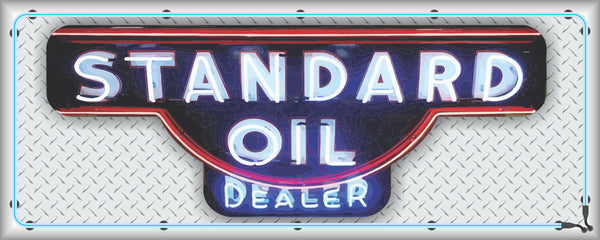 STANDARD OIL Neon Effect Sign Printed Banner HORIZONTAL 5' x 2'