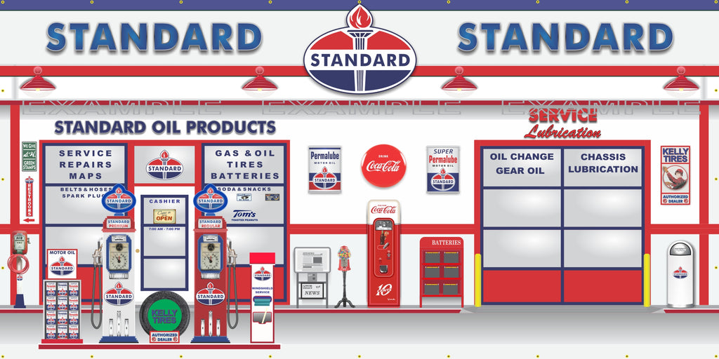 STANDARD OIL PRODUCTS OLD GAS PUMP GAS STATION SCENE WALL MURAL SIGN BANNER GARAGE ART VARIOUS SIZES