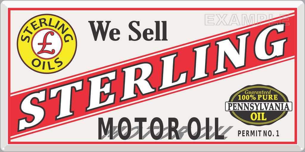 STERLING MOTOR OIL GAS STATION SERVICE OLD SIGN REMAKE ALUMINUM CLAD SIGN VARIOUS SIZES