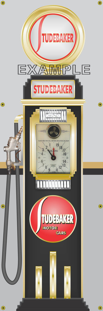 STUDEBAKER MOTOR CARS GASOLINE OLD CLOCK FACE GAS PUMP Sign Printed Banner VERTICAL 2' x 6'
