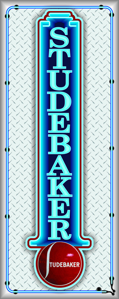STUDEBAKER MOTOR CARS Neon Effect Sign Printed Banner VERTICAL 2' x 5'
