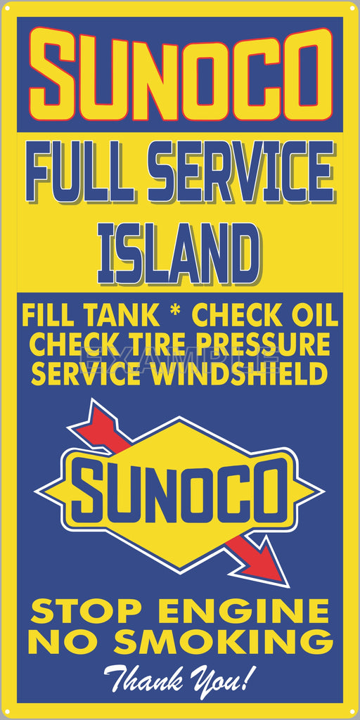 SUNOCO GAS FULL SERVICE ISLAND GAS STATION SERVICE GASOLINE OLD SIGN REMAKE ALUMINUM CLAD SIGN VARIOUS SIZES