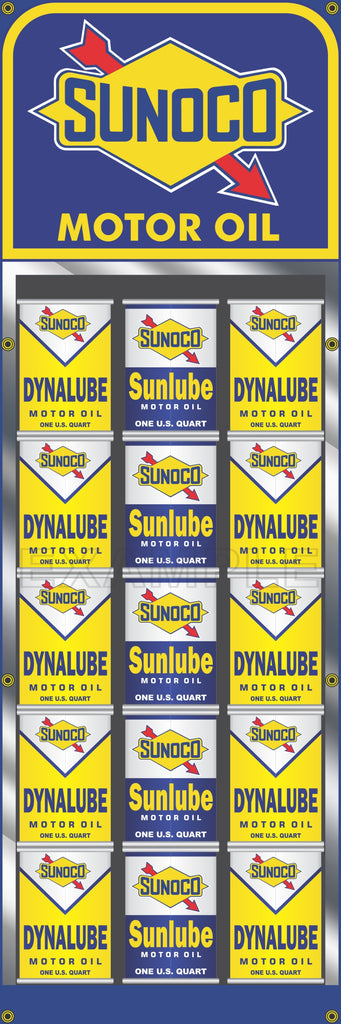 "SUNOCO GAS STATION OIL CAN RACK DISPLAY PRINTED BANNER SIGN MURAL ART 20"" x 60"""