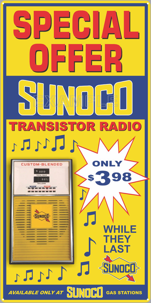 SUNOCO GAS STATION TRANSISTOR RADIO SPECIAL PROMO OLD SIGN REMAKE ALUMINUM CLAD SIGN VARIOUS SIZES