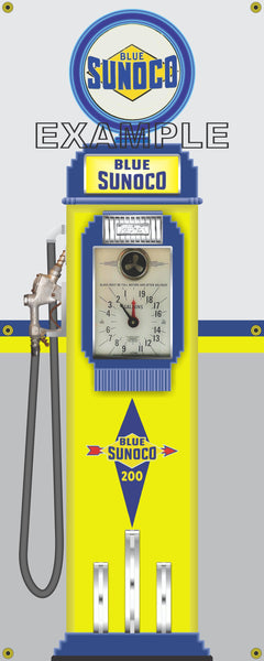 SUNOCO VINTAGE GAS PUMP VERSIONS Sign Printed Banner VERTICAL 2' x 5' or 2' x 6'