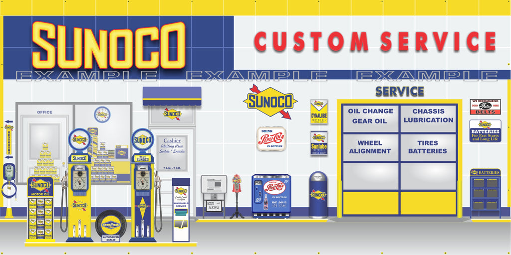 SUNOCO OLD GAS PUMP GAS STATION SCENE WALL MURAL SIGN BANNER GARAGE ART VARIOUS SIZES