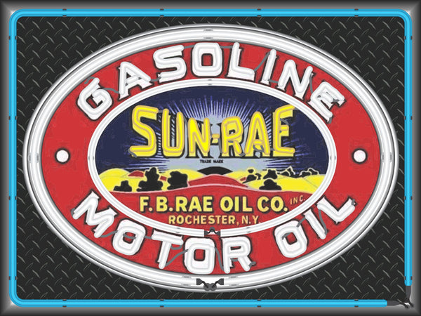 SUN RAE GASOLINE MOTOR OIL Neon Effect Sign Printed Banner 4' x 3'
