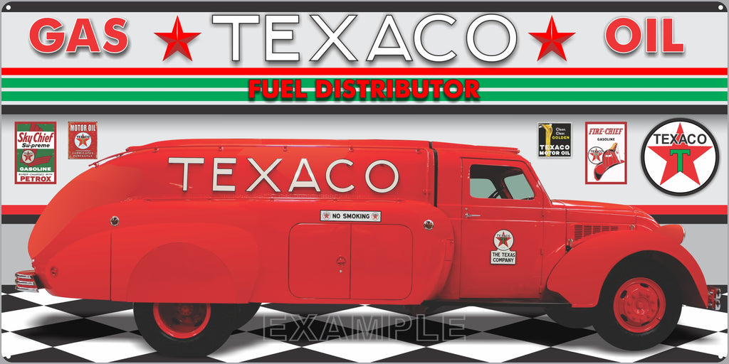 TEXACO 1939 AIRFLOW TRUCK SCENE GAS STATION SERVICE GASOLINE OLD SIGN REMAKE ALUMINUM CLAD SIGN VARIOUS SIZES