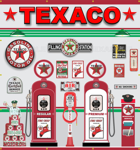 "TEXACO OLD GAS PUMP STATION SCENE WALL MURAL SIGN BANNER GARAGE ART 7'-6"" X 7'"
