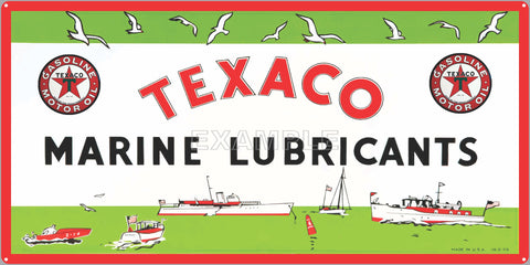 TEXACO MARINE LUBRICANTS DEALER BOAT MARINE WATERCRAFT OLD SIGN REMAKE ALUMINUM CLAD SIGN VARIOUS SIZES