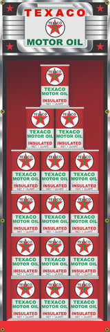 "TEXACO OIL CAN RACK DISPLAY GAS STATION PRINTED BANNER SIGN MURAL ART 20"" x 60"""