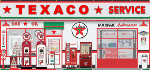 TEXACO OLD GAS PUMP STATION SCENE WALL MURAL SIGN BANNER GARAGE ART 7.5' X 16'