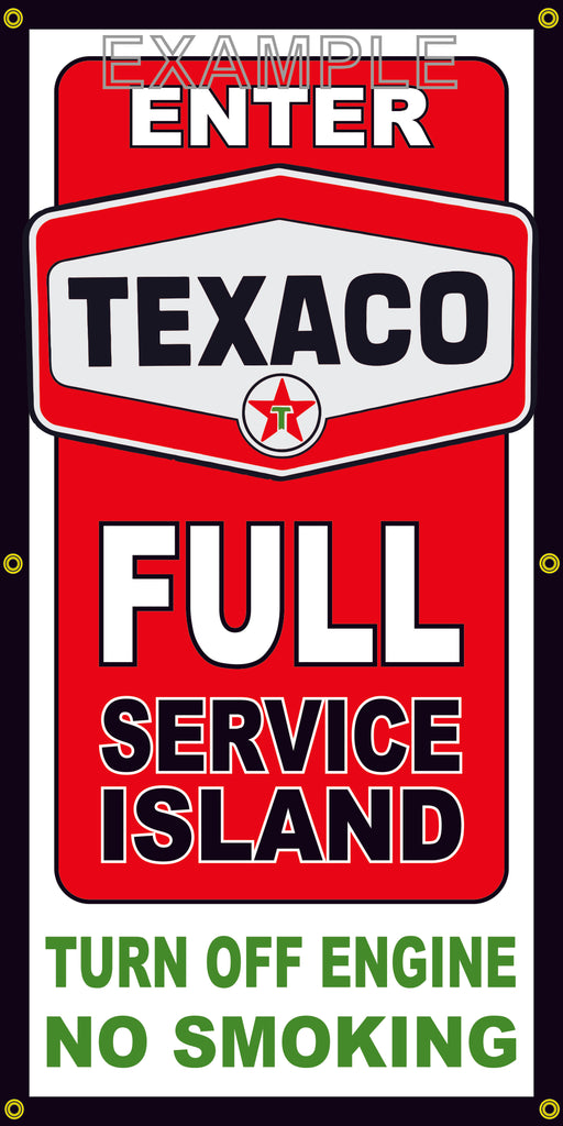 TEXACO FULL SERVICE ISLAND VINTAGE OLD SCHOOL SIGN REMAKE BANNER SIGN ART MURAL 2' X 4'/3' X 6'