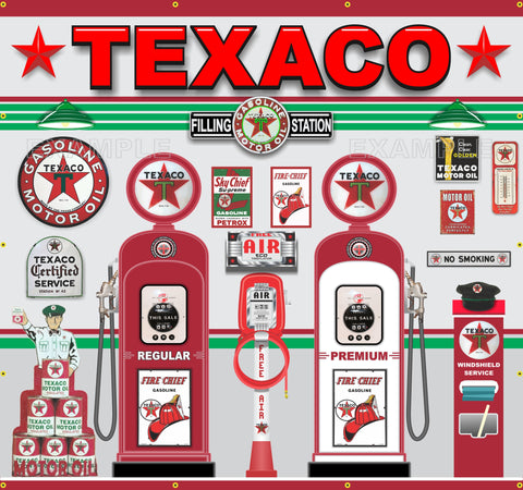 "TEXACO OLD GAS PUMP STATION SCENE WALL MURAL SIGN BANNER GARAGE ART 96"" W X 90""H"
