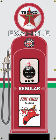 TEXACO GAS PUMP INDIVIDUAL OR SET PRINTED BANNER SHOP ART MURAL 2' X 5'
