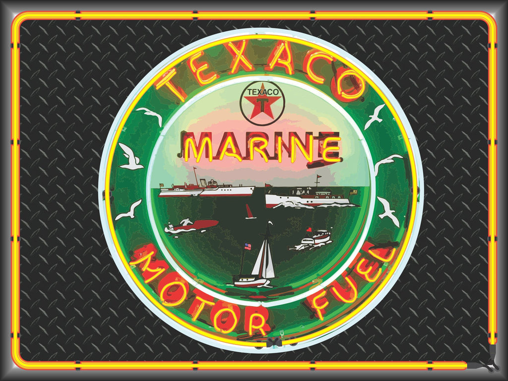 TEXACO MARINE MOTOR FUEL Neon Effect Sign Printed Banner 4' x 3'