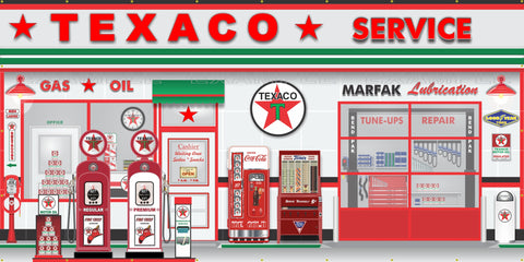 TEXACO OLD GAS PUMP GAS STATION SCENE WALL MURAL SIGN BANNER GARAGE ART VARIOUS SIZES