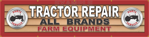 "TRACTOR PARTS SERVICE REPAIR SHOP GENERIC DEALER SIGN RED WHITE BLACK BANNER MURAL 24"" x 96"""