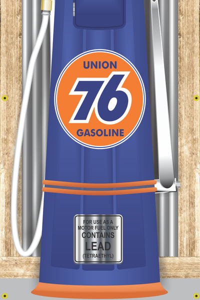 UNION 76 GAS STATION OLD VISIBLE GAS PUMP RUSTIC PRINTED BANNER MURAL ART 2' x 8'
