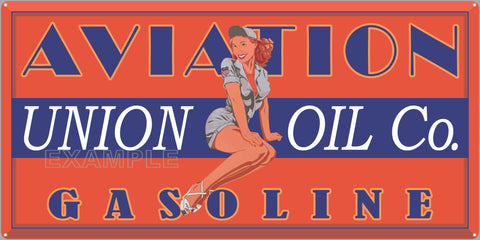 UNION OIL COMPANY AVIATION GASOLINE LADY ATTENDANT PILOT OLD SIGN REMAKE ALUMINUM CLAD SIGN VARIOUS SIZES