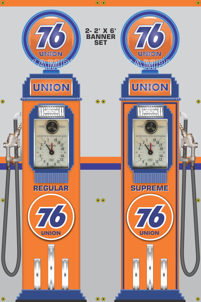 UNION 76 GASOLINE CLOCK FACE GAS PUMPS GAS STATION DISPLAY PRINTED BANNER  2' x 6' SINGLES OR SET