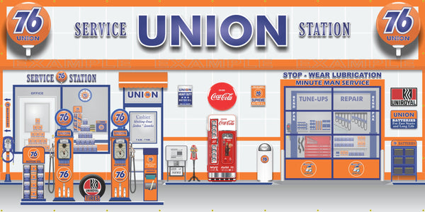 UNION 76 RETRO OLD GAS PUMP GAS STATION SCENE WALL MURAL SIGN BANNER GARAGE ART VARIOUS SIZES