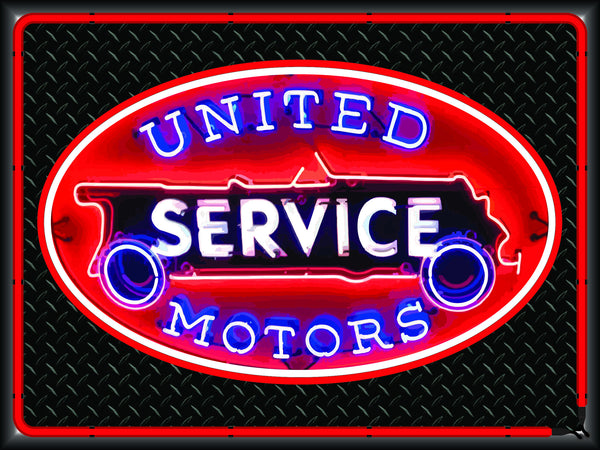 UNITED MOTORS SERVICE Neon Effect Sign Printed Banner 4' x 3'