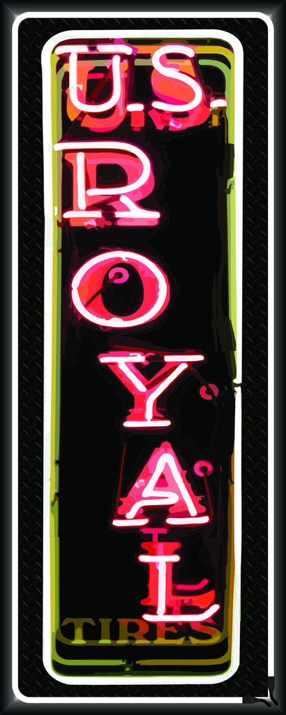 US ROYAL TIRES Neon Effect Sign Printed Banner VERTICAL 2' x 5'