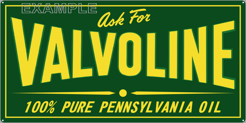 VALVOLINE MOTOR OIL LUBRICANTS GAS STATION SERVICE GASOLINE OLD SIGN REMAKE ALUMINUM CLAD SIGN VARIOUS SIZES