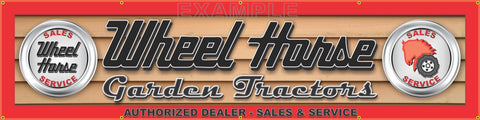 "WHEEL HORSE GARDEN TRACTORS LAWN EQUIPMENT DEALER LETTER SIGN BANNER 24"" x 96"""