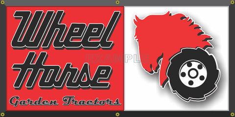 WHEEL HORSE LAWN AND GARDEN TRACTORS DEALER VINTAGE OLD SCHOOL SIGN REMAKE BANNER SIGN ART MURAL 2' X 4'/3' X 6'