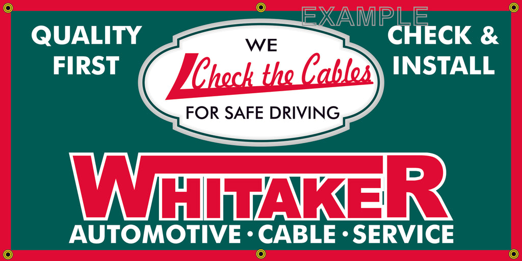 WHITAKER AUTOMOTIVE CABLE VINTAGE OLD SCHOOL SIGN REMAKE BANNER SIGN ART MURAL 2' X 4'/3' X 6'