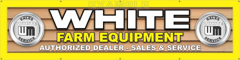 "WHITE FARM EQUIPMENT DEALER LETTER SIGN REMAKE LARGE BANNER MURAL 24"" x 96"""