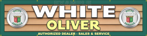 "WHITE OLIVER TRACTOR DEALER LETTER SIGN REMAKE LARGE BANNER MURAL 24"" x 96"""