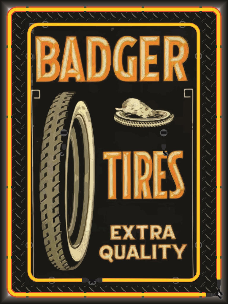 BADGER TIRES Neon Effect Sign Printed Banner 4' x 3'