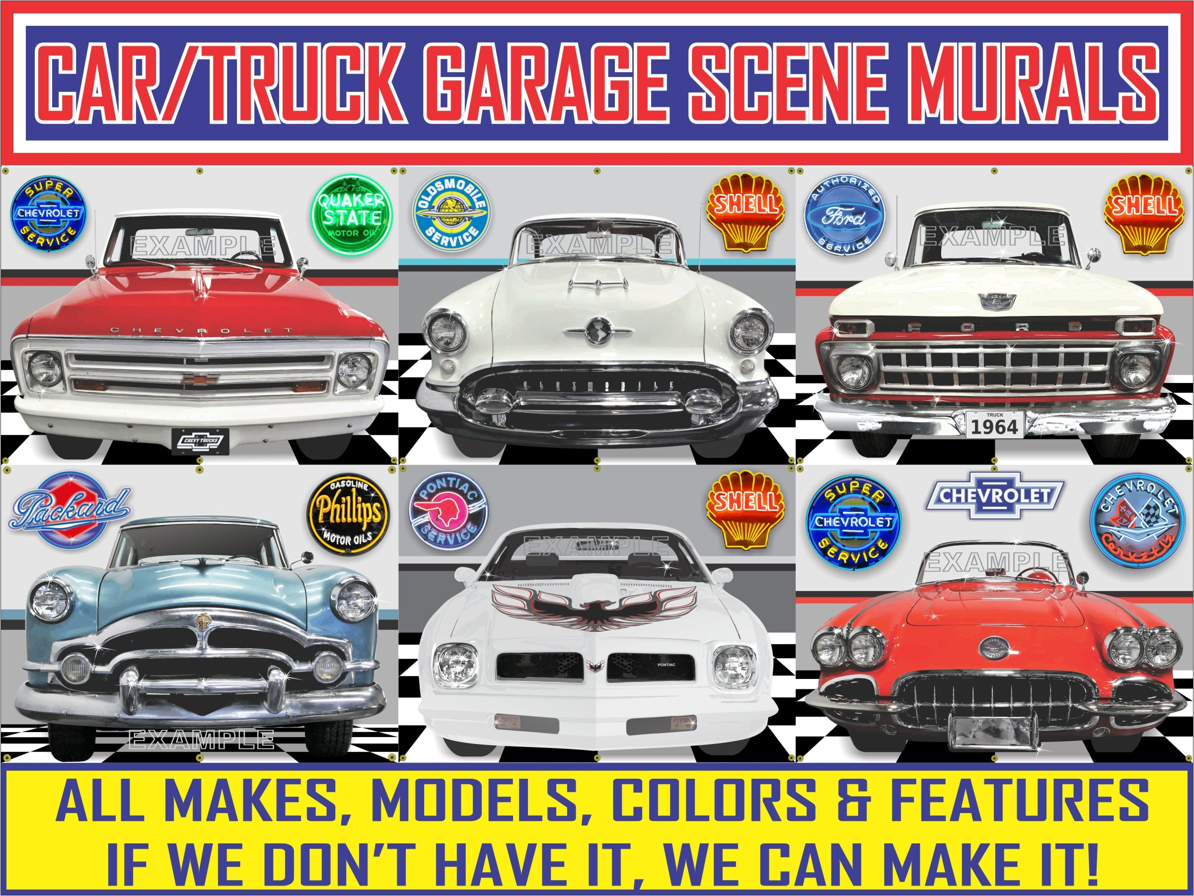 CAR/TRUCK GARAGE SCENE BANNERS