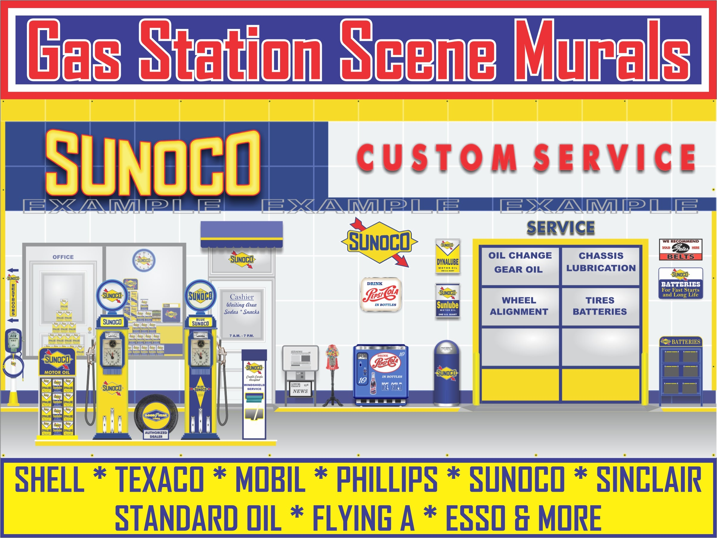 GAS STATION SCENE MURALS
